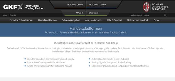 CFD Broker Vergleich - GKFX Handelsplattformen