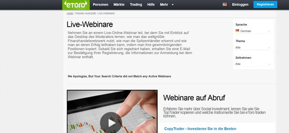 Webinare bei eToro