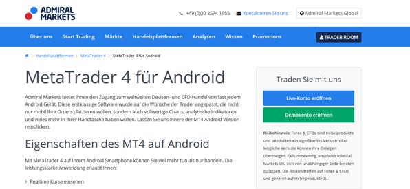 Der MetaTrader 4 für Android bei Admiral Markets