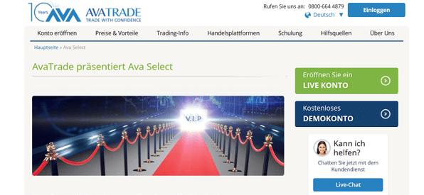 AvaTrade Select im Überblick