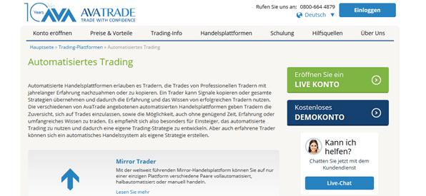 Automatisiertes Trading bei AvaTrade