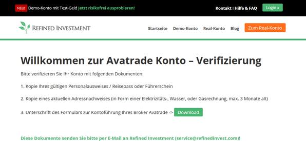 Die Verifizierung bei AvaTrade im Überblick