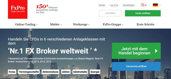 FxPro ist der Nr. 1 FX Broker weltweit