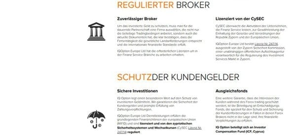 Regulierter Broker sorgt für Sicherheit