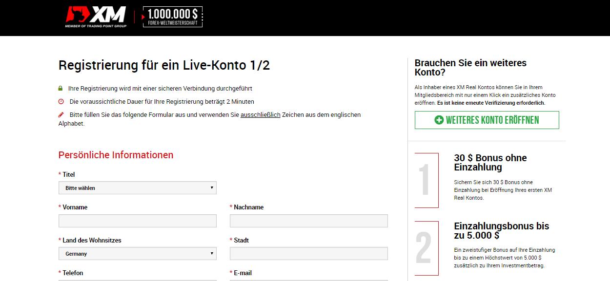 XM.com Registrierungsformular