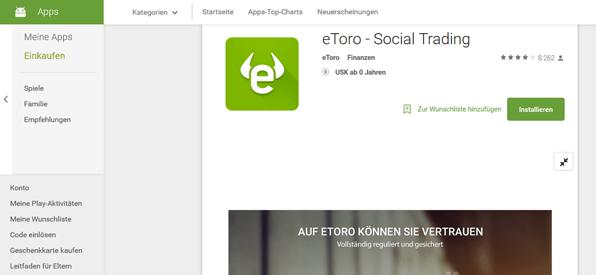 eToro App für Android