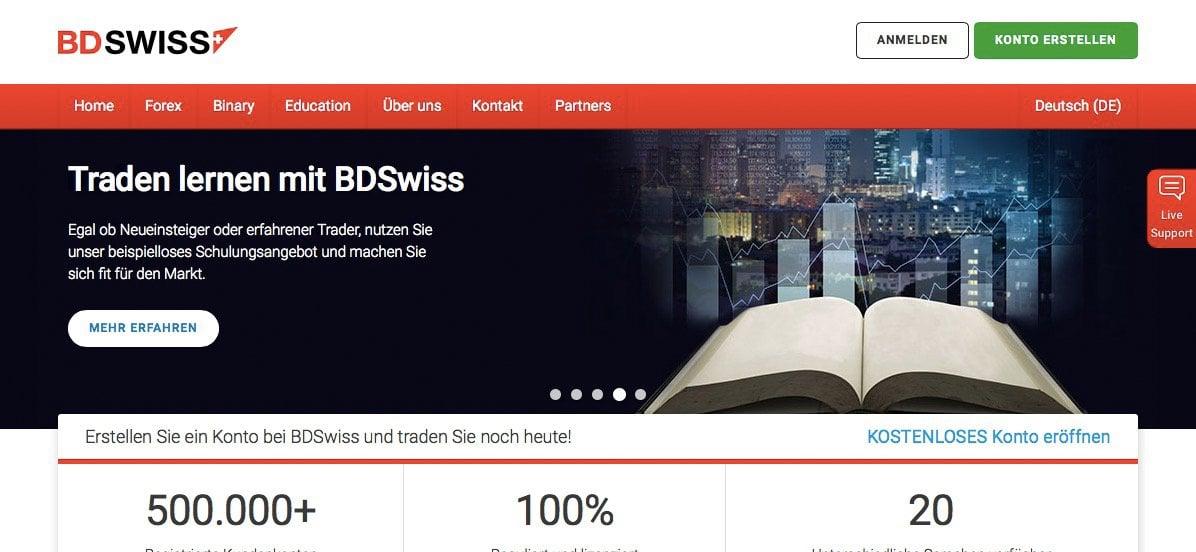 BDSwiss Erfahrungen Startseite