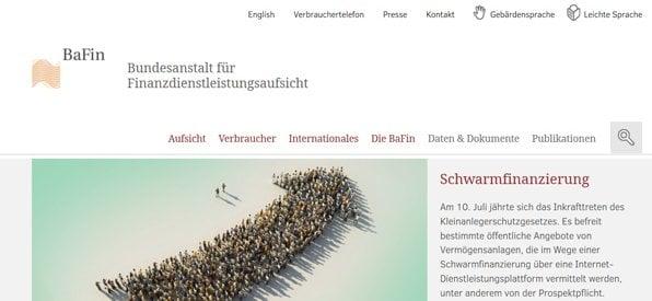 Screenshot Startseite Bundesanstalt für Finanzdienstleistungsaufsicht
