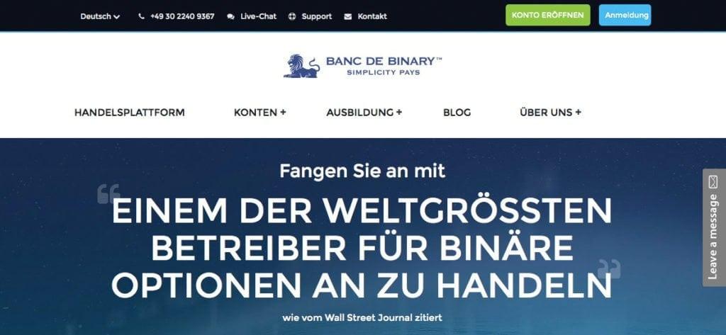 Banc de Binary Erfahrungen Startseite