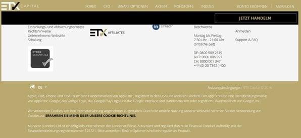 Screenshot Aufsicht Lizenz ETX Capital