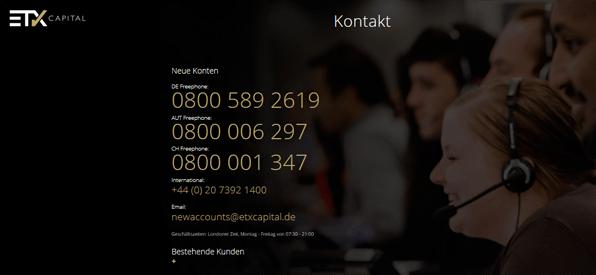 ETX Capital Kontakt