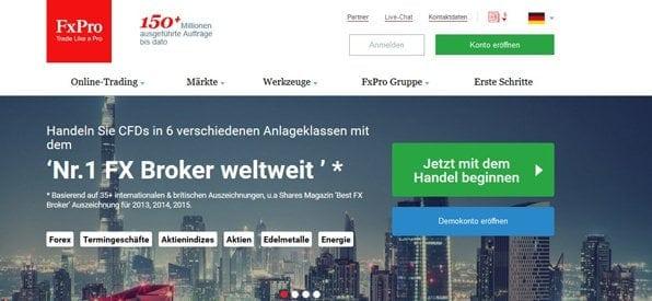 Screenshot Startseite FxPro Handel