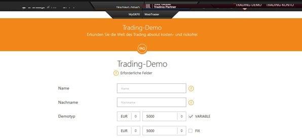 Screenshot GKFX Demokonto Eröffnung