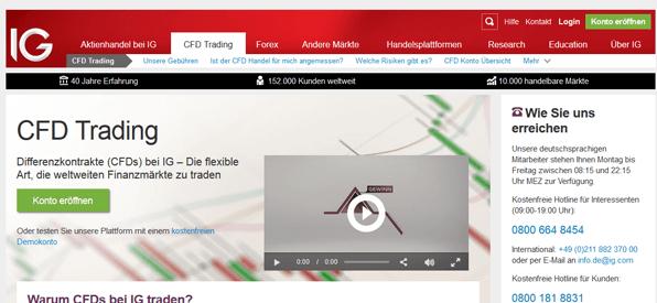 Bei IG kann man an über 10.000 Märkten CFD-Handel betreibenIG Homepage