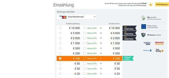Screenshot IQ Option Bonusprogramm