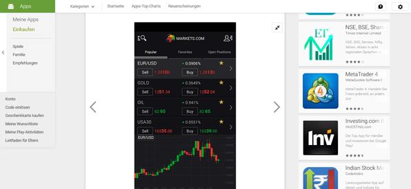 Die Markets.com App für Android
