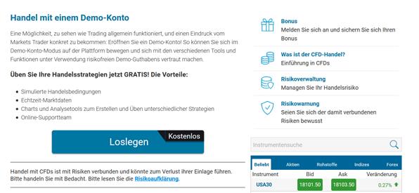 Das Demokonto bei Markets.com