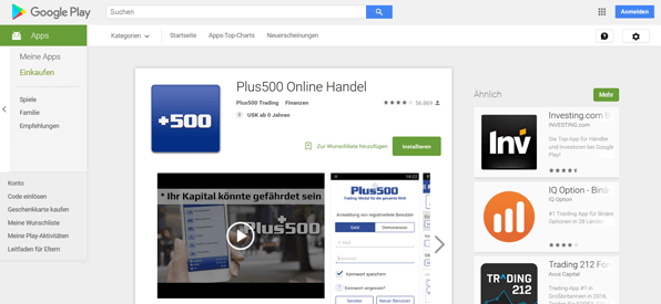 Die Plus500 App im Google Play Store