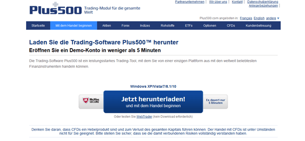 Der Download der Plus500-Plattform