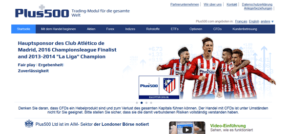 Plus500 ist Sponsor des Club Atlético de Madrid