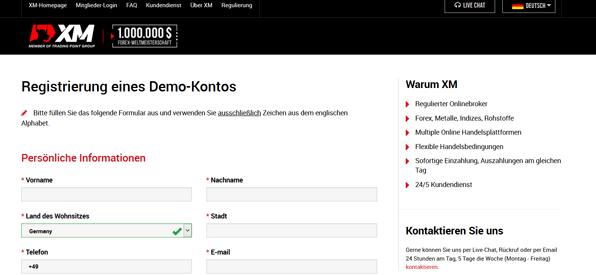 Das Demokonto von XM.com