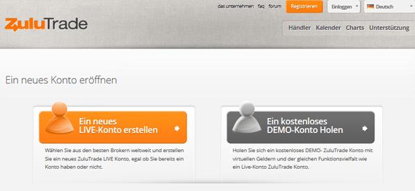 ZuluTrade Kontoeröffnung Registrierung Anmeldung