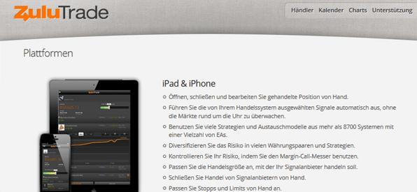 ZuluTrade App unterwegs Plattform
