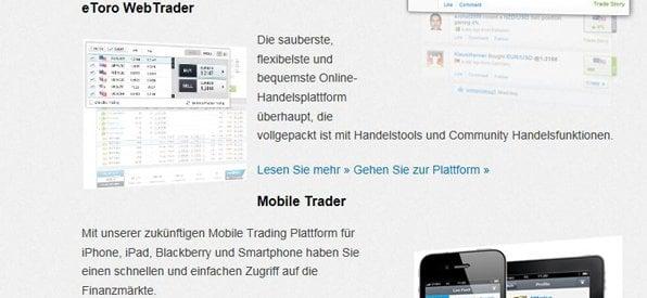 Die eToro Trading Plattform ist sehr übersichtlich aufgebaut