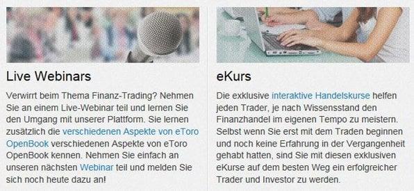 Viele Lernmaterialien in der eToro Trading Akademie verfügbar