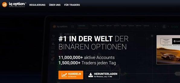 Screenshot IQ Option Kontoanmeldung