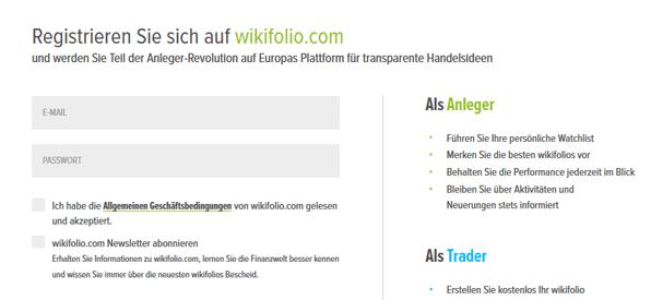 wikifolio Kontoeröffnung Anmeldung Registrierung