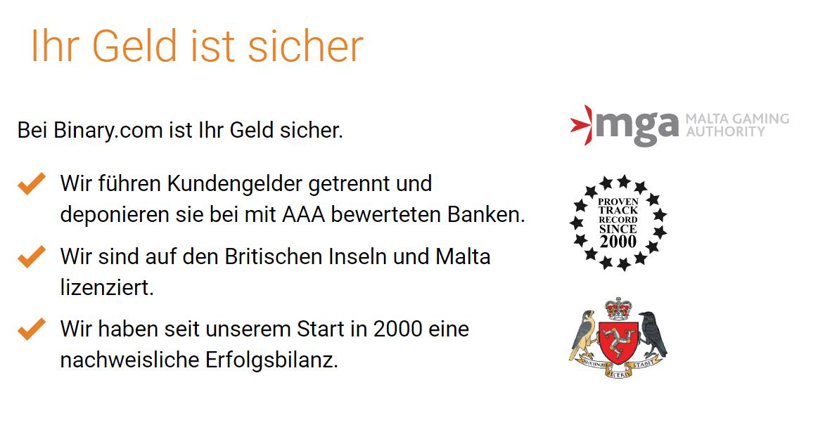 Regulierung und Absicherung binary.com