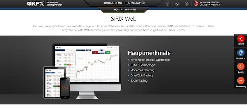 SIRIX Web bei GKFX