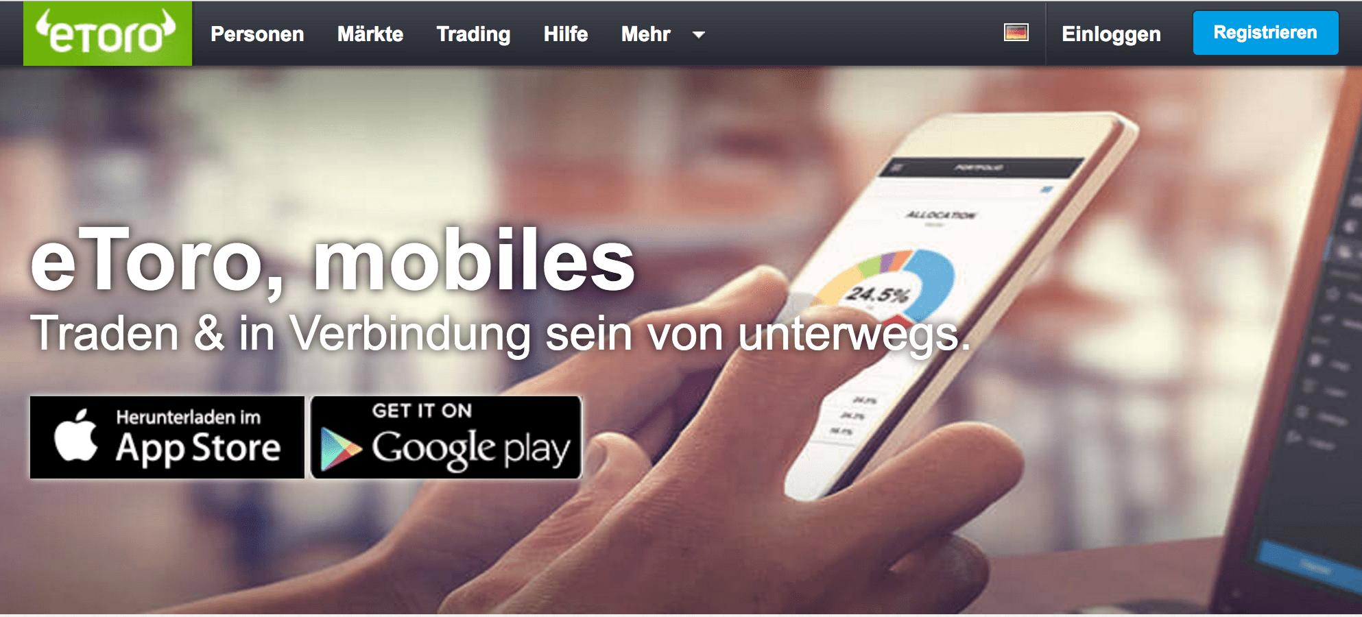 eToro mobiler Handel