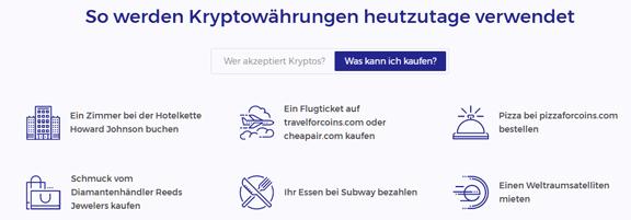 Verwendung Kryptowährungen