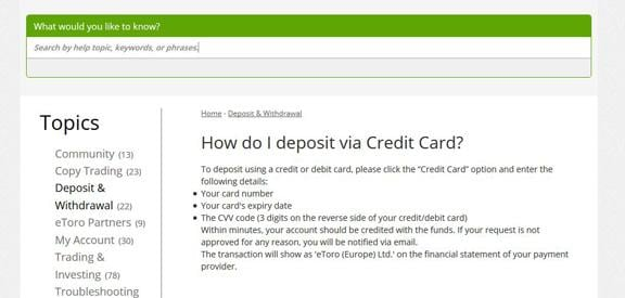 Kreditkartenzahlung bei eToro