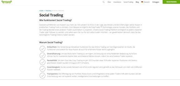 Social Trading Funktionen