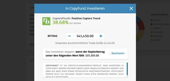 Copy Funds Kopierfunktion Social Trading eToro