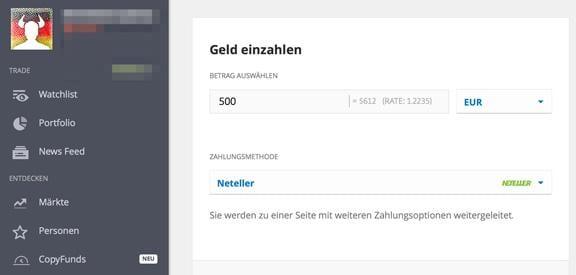 Bitcoin eToro Einzahlung