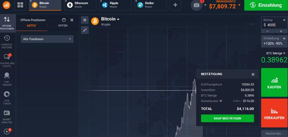 IQ Option Demo Konto BTC Trade