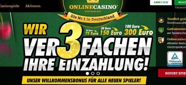 OnlineCasino.de kann im Test mit seinem Bonus einen der ersten Plätze einnehmen
