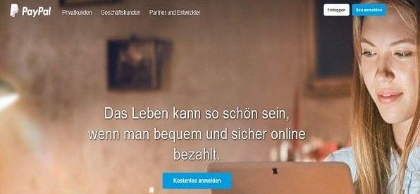 PayPal Hauptseite