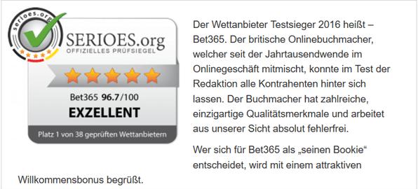 Das SERIOES.org Siegel wird geprüften Online Buchmachern verliehen.