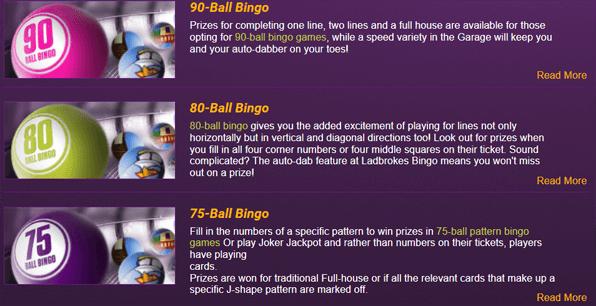 Bei Anbietern wie Ladbrokes stehen zahlreiche Bingo Varianten zur Auswahl.