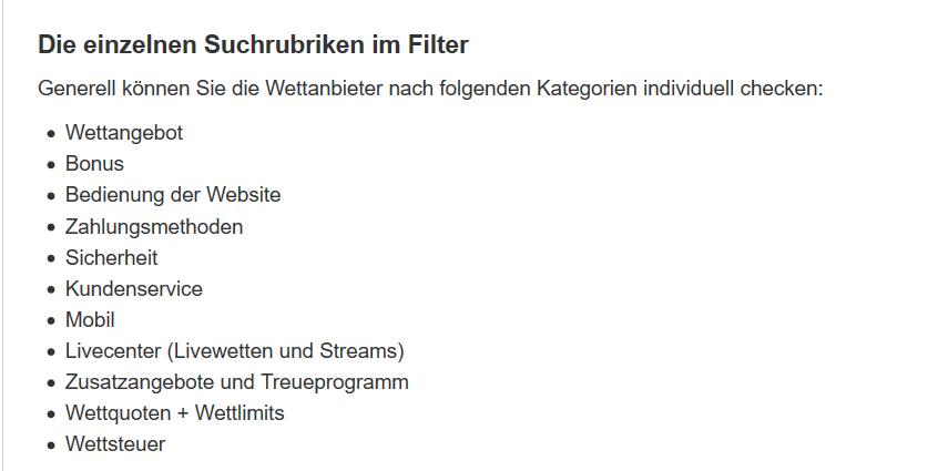 Filtermöglichkeiten bei SERIOES.org