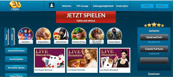 Das Live-Casino von EUcasino