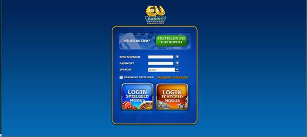 Die Anmeldemaske von EU Casino