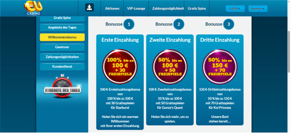 Die Bonusseite von EU Casino