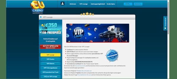 Die VIP-Lounge von EUcasino