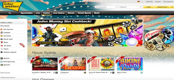 Startseite Casinobereichs von Interwetten